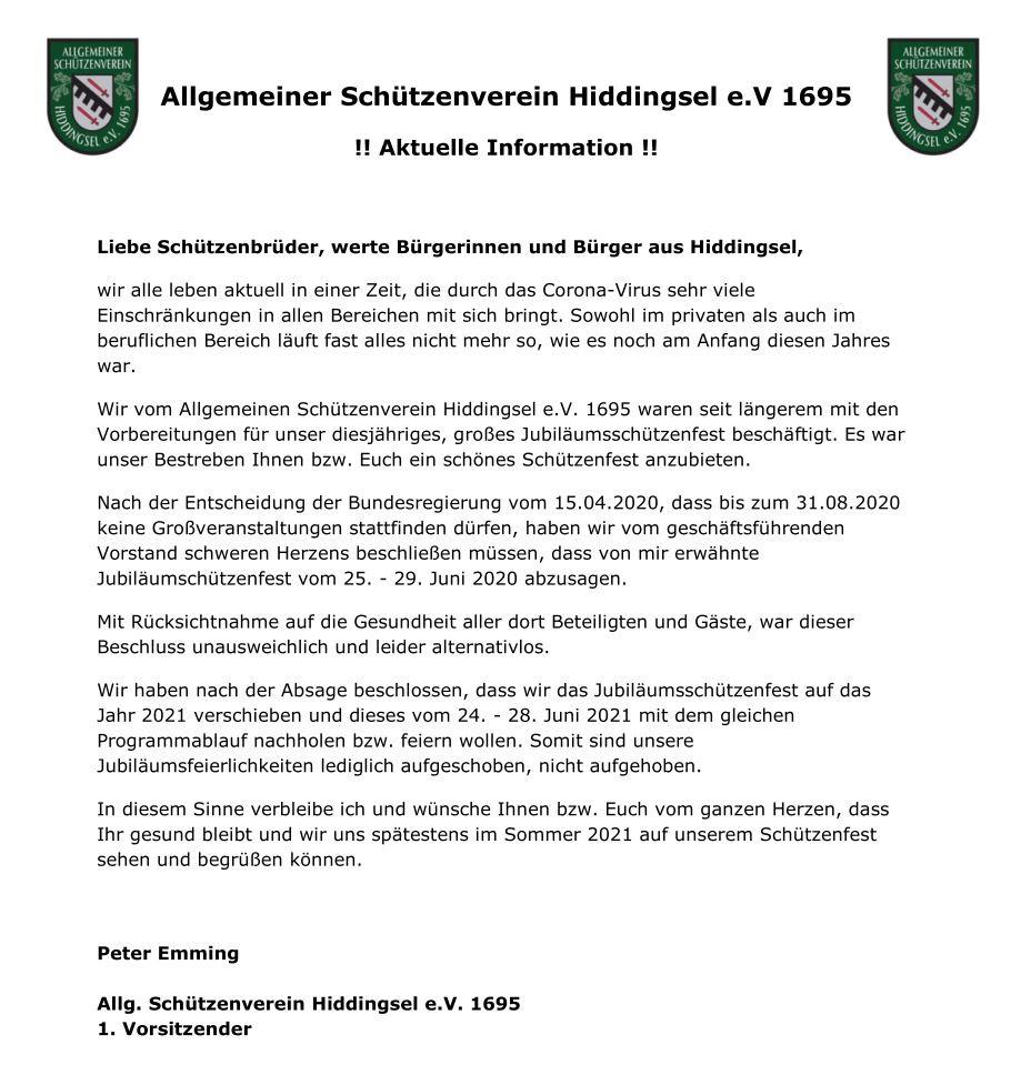 Schützenverein Statement